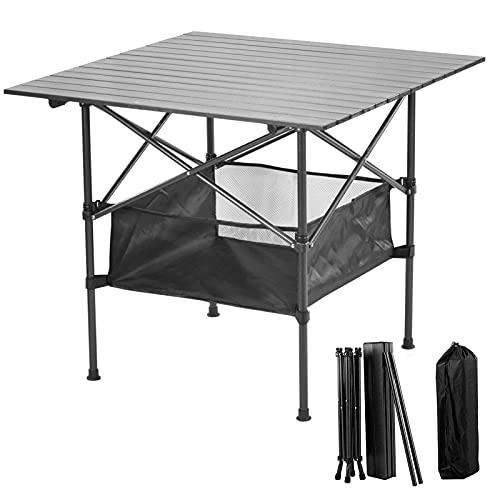 Zxqiang Portatiles Plegable Ultraligero Mesa,Mesa De Camping Plegable De Aluminio,de Camping con Bolsa De Transporte Y Malla De Almacenamiento,para Al Aire Libre,Picnic,Senderismo,64cm
