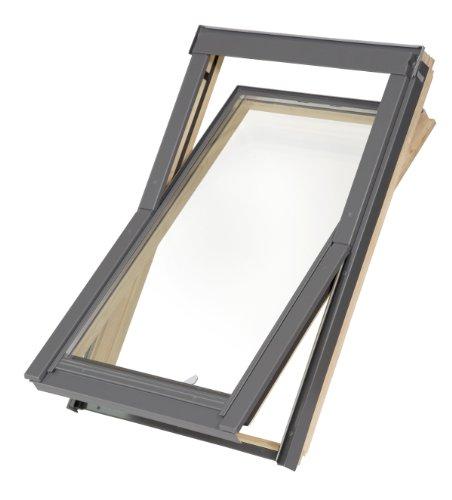 Dachfenster Balio Schwingfenster mit Eindeckrahmen und Rollo (Verdunkelungsrollo) 66x112 cm (VKR Konzern Rooflite Velux)