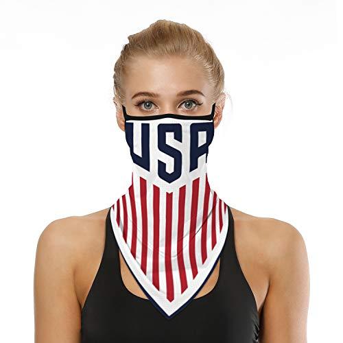 SRVOKOX American Flag USA Bandana Neck Gaiter Face Mask Covering Bandanas for Men Women Summer UV Cooling Face Scarf Mask Cover Ear Loop Hole Triangle Facemask Headbands for Fishing Cycling Hiking