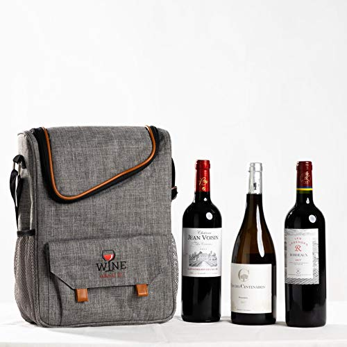 Wine About It Insulated Cooler Bag | 3 Bottle Fashionable Picnic Travel Tote | Front pockets | Corkscrew | Adjustable shoulder carry strap | Durable easy to clean canvas with leather style detail