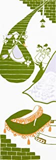 シンデレラ日本手ぬぐい Scene8『落としたガラスの靴を合わせ履くシンデレラ』