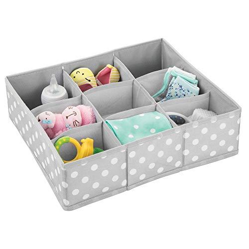 mDesign - Lade-organizer voor kinder-/babykamers - voor ladekasten en kledingkasten - ruim/9 compartimenten/zacht/stof - grijs/wit