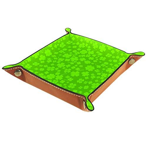 HOHOHAHA Sfondo verde con quattro foglie quadrifoglio vassoio pieghevole per dadi in pelle PU supporto rotolare vassoi per dadi RPG gioco D & D e altr