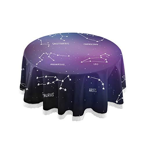 ALARGE Manteles redondos con diseño de galaxia de las doce constelaciones de estrella de 60 pulgadas con bordes de encaje lavables, mantel de mesa de comedor decorativo para el hogar, cumpleaños, fiesta de picnic