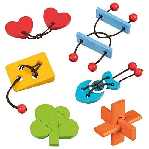 Goki 6 Verschiedene Geschicklichkeitsspiele, Knobelspiele, Geduldsspiele