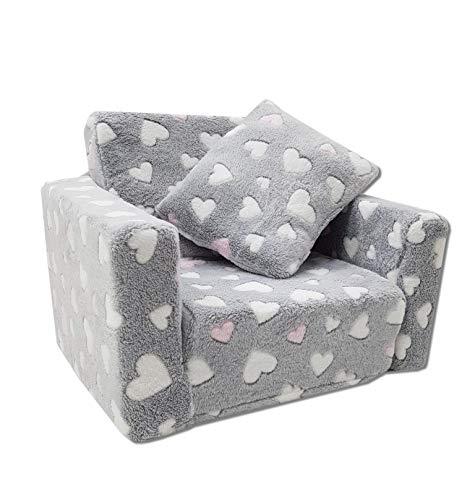Kindersessel Mini-Sessel Kinderstuhl Relaxsessel Kuschelsessel (Herzen grau + Weiss/pink)
