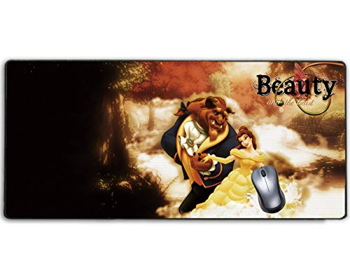 Stitched Edge Large Gaming Mouse Pad Disney Beauty and The Beast,No-sliped Mat Game Mousepad for Desktop Computer Keyboard and Laptop(27.5 inch x 12 inch)