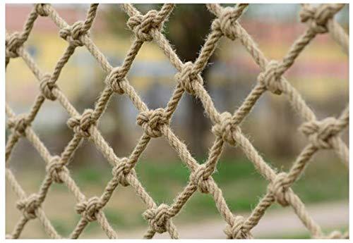 WML Hand-woven anti-aging hemp rope, children's safety net, Ceiling Hang decoration net,stair fall prevention net, cargo rope balcony railing protection net, beige Diameter 14mm