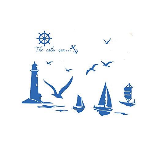 Winhappyhome - Adesivi murali faro gabbiano barca a vela per camera da letto soggiorno decorazione da interni