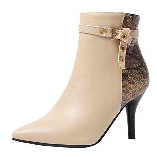 VECDY Damen Stiefeletten Mode Boots Elegant Martin Stiefel mit dünnen Absätzen Schuhe mit...