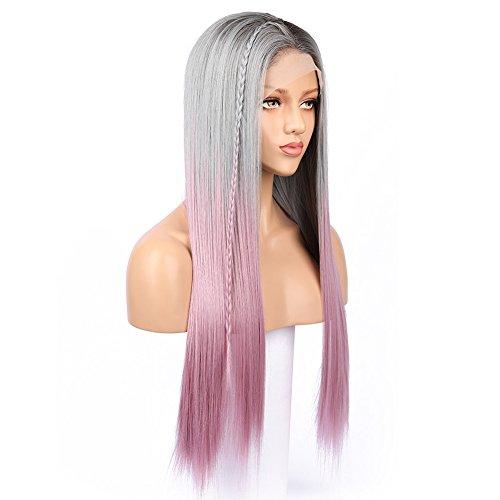 FUHSI Kanekalon Fiber Dark Roots 3 Colors Full Lace wig Real Natural–Soft&Smooth, Straight&No Shedding,Comfortable&Adjustable For Perfect Fit-2#&Gray&Pink 250D 22'