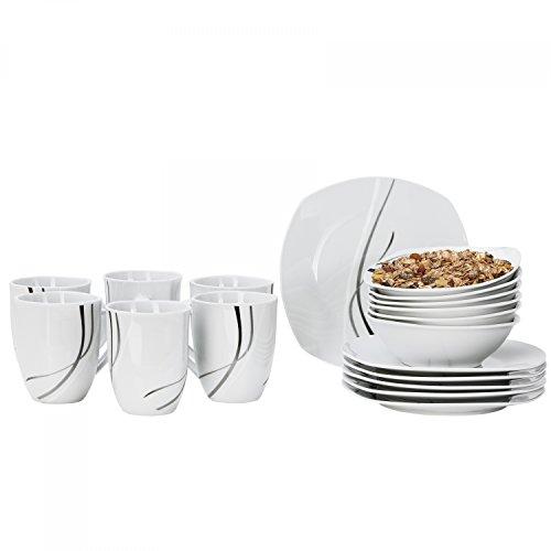 Van Well Van Well Silver Night Service à petit-déjeuner 18 pièces comprenant 1 tasse à café, 1 petite assiette et 1 bol à céréales, en porcelaine, décor abstrait et vaisselle gastronomique