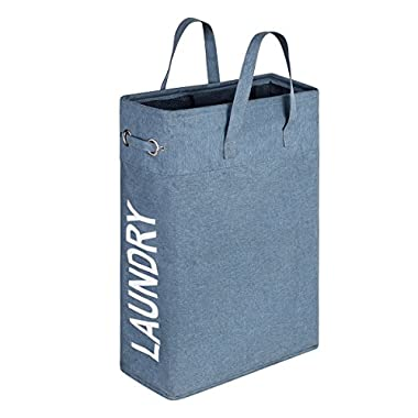 WISHPOOL Slim Handy Canvas Laundry Bag Hamper Foldable Laundry Basket Bag with Handle 15.4X7.8X22 Inch(Blue)