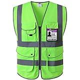 JKSafety Neun Taschen Unisex Hohe Sichtbarkeit Warnweste Reflektierende Weste Reißverschluss EN ISO 20471 Grüne (X-Large)