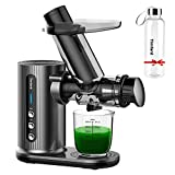Juicer Machines for Vegetable and Fruit with Large Feed Chute, Slow Masticating Juicer with Bottle, Cold Press Juicer with Brush Easy Clean -Dark Grey