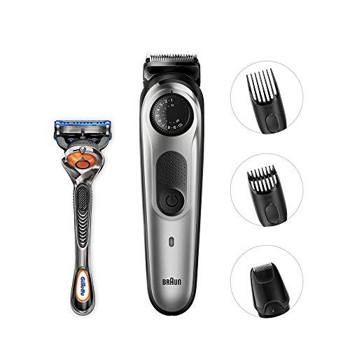 Braun BT5060 Beard Trimmer and Hair Clipper, Detail Trimmer Attachment, Sharp Blades, Free Gillette Fusion5 ProGlide Razor with Flexball Technology, Black/Silver