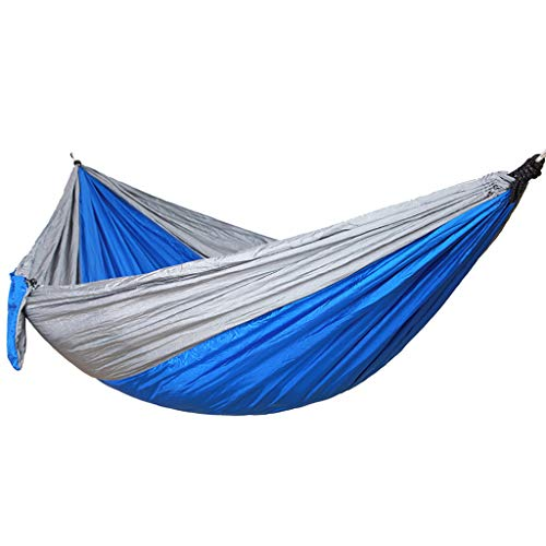 Haluoo Lightweight Portable Nylon Camping Hammock Single Double Outdoor Travel Tree Hammock Beach Parachute Hammock Stick Hammock to Prevent Rollover for Camping Hiking Backpacking (Blue)