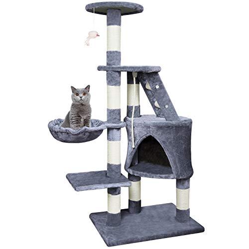 KExing Árbol de Gato Rascador Árbol Trepador Sisal Felpa con Hamaca y Cuerda Medio Altura 120 cm Gris