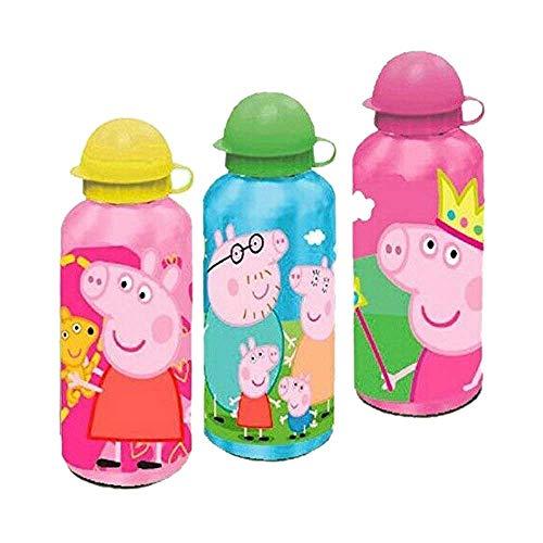 Le fantasie di casa Borraccia in Alluminio Grande 500 ml per Bambini con valvola Anti Goccia Peppa Pig in 3 Colori. (Tappo Verde)