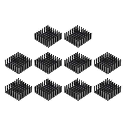 sourcing map 10x25x25mm Black Aluminum Heatsink Thermal Adhesive Pad Cooler for Cooling 3D Printers 10Pcs