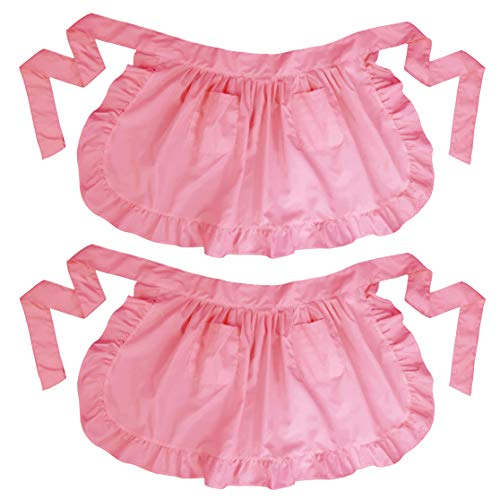 LilMents Twin Pack Retro Kitchen Ruffles Waist Apron with Pockets (Pink)