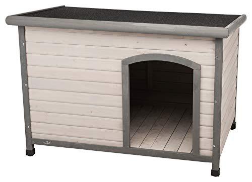 Trixie 39563 natura Hundehütte Classic mit Flachdach, L: 116 × 82 × 79 cm, grau