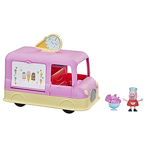 Peppa Pig Peppa's Adventures Peppa's Ice Cream Truck Vehicle Preschool Toy, Speech and Sounds, Peppa Figure and Accessory, Ages 3 and Up