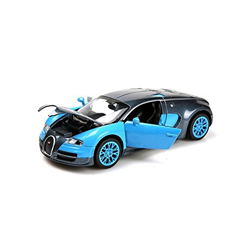 Berry President(TM 1:32 Bugatti Veyron Diecast Scale Model Alloy Supercar Model Vehicle Simulation Toy for Children Electric Pull Back Cars Sound & Light - Birthday (Blue)