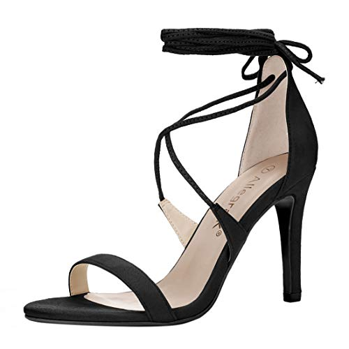 Allegra K Women's Open Toe Stiletto High Heel Lace-Up Sandals (Size US 9) Black