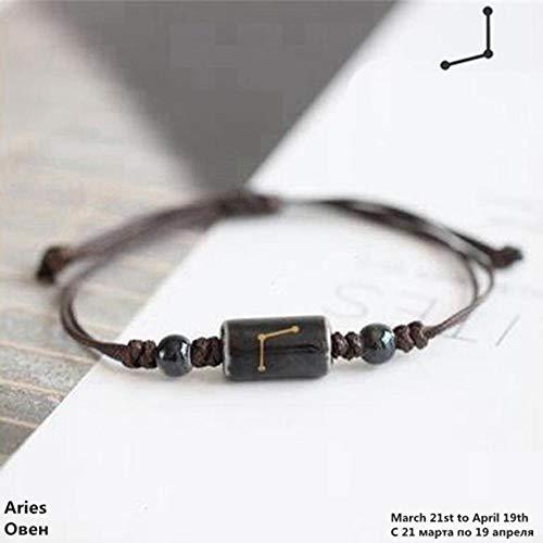 Lederen Armband, Lederen Bangle Verstelbare Zwarte Ram Constellatie Zodiac Teken Horoscoop Astrologie Keramiek Armbanden Mannen Jongens Vrouwen Meisje Paar Liefhebbers Sieraden