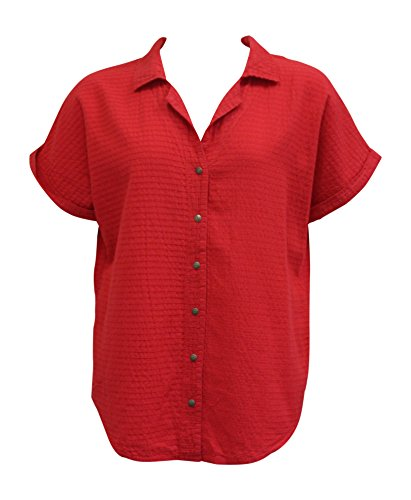 Ezze Wear Women's Ronnie Mirage Cotton Shirt Tunic Top Red (3X, Red)