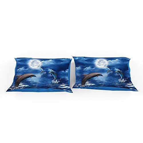 Andrui 2 Pcs Pillow Case Blue Ocean 3D Dolphin Pattern Pillow Case Soft Microfiber Home Decor Pillow Case 50x75cm