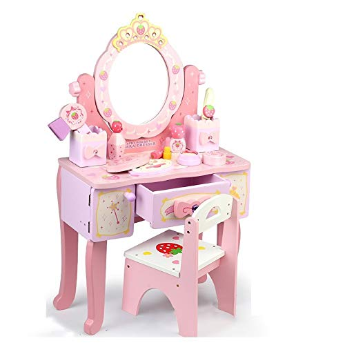 OUPAI Häuser für Modepuppen Pretend Play Play-Kids Schminktisch und Schönheit Spielset, Stuhl und Fashion Make-up-Zubehör for Mädchen (Color : with Chair, Size : A)