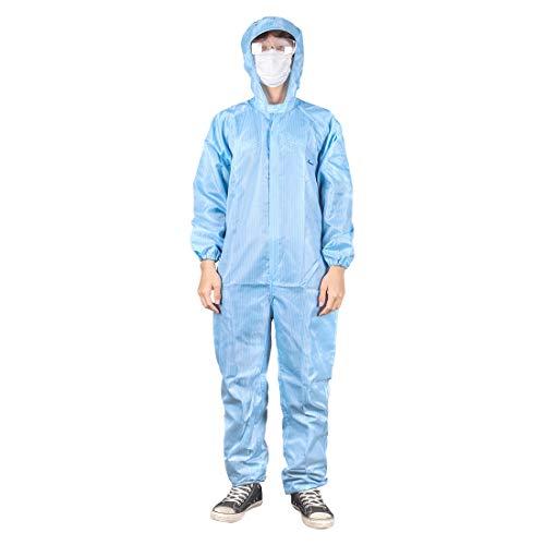 Tuta protettiva con cappuccio riutilizzabile, anti-epidemia, antibatterica, isolante, per personale, antipolvere, antistatica (blu), M, 1