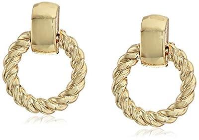 Anne Klein Gold Tone Doorknocker Twist Earrings, one size (60548680-887)