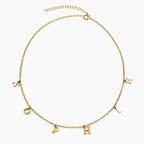 Collar de nombre personalizado, collar personalizado con letra chapado en oro de 18 quilates, collar de nombre personalizado para mujer, niña, gold, Chapado en oro,