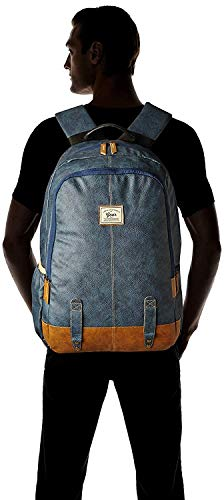 Gear Classic Anti Theft Faux Leather 14 cms Navy Tan Laptop Backpack (LBPCLSLTH0519)