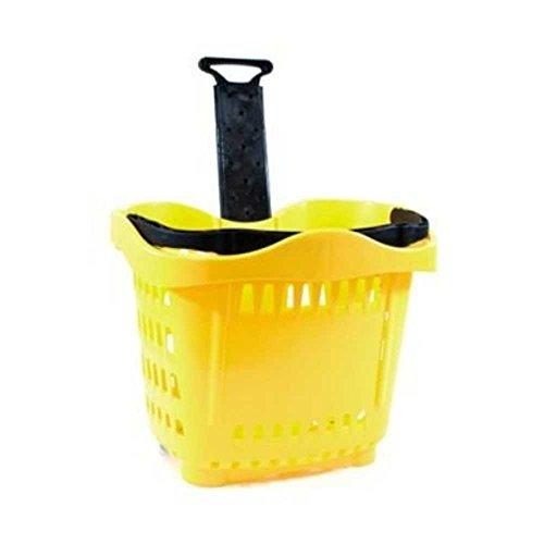 Cestino trolley spesa in plastica su ruote maniglia telescopica lt.43 per arredo supermercati e forniture negozi dimensioni mm.533x380x425h. Cesto utile per supermercati e minimarket (giallo)