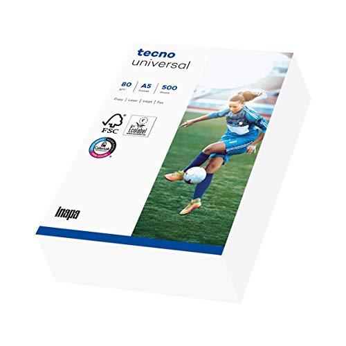 inapa Drucker-/Kopierpapier tecno Universal: 80 g/m², A5 (210x148), 500 Blatt, weiß – Allround-Papier im A5-Format, 2100011541_R