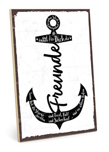 TypeStoff Holzschild mit Spruch – Freunde SIND EIN Hafen – im Vintage-Look mit Zitat als Geschenk und Dekoration zum Thema Freundschaft (19,5 x 28,2 cm)