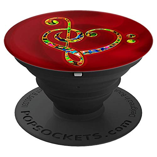 Music, heart, bass clef, treble clef, Iove, heartbeat, sound PopSockets Grip and Stand for Phones and Tablets