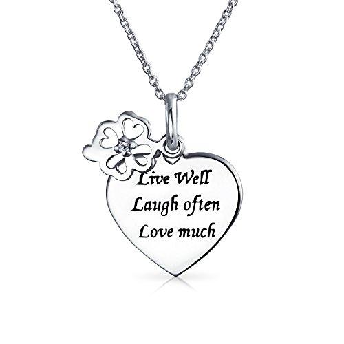 Leben Lieben Lachen Wort Zitat Kreis Blume Charme Herz Form Anhänger Halskette Für Frauen 925 Sterling Silber