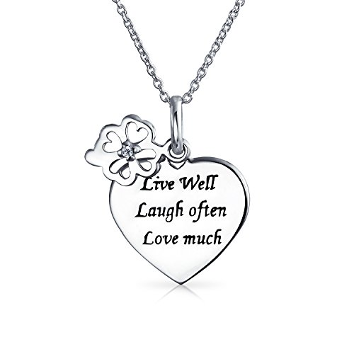 Live Love Laugh Word Quote Circle Flower Charm Heart Shape Pendant Necklace For Women 925 Sterling Silver