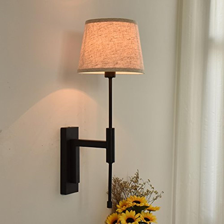 Fu Man Li Trading Company Nordic American Nachttischlampe moderne Mode einfache Leinen Wandleuchte Schlafzimmer Gang Balkon Technik Lichter A+ (Farbe   Schwarz)