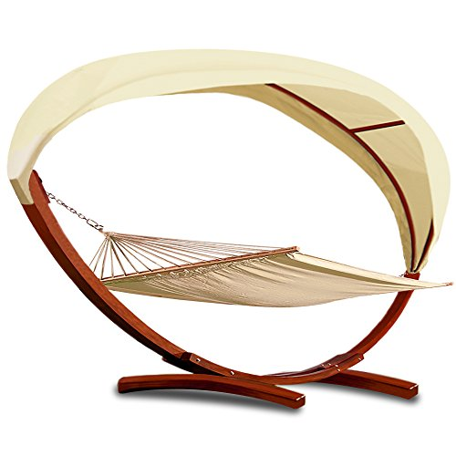 Deuba 2 Person Hammock, 100% Cotton with Wooden Frame and Roof - Outdoor Garden