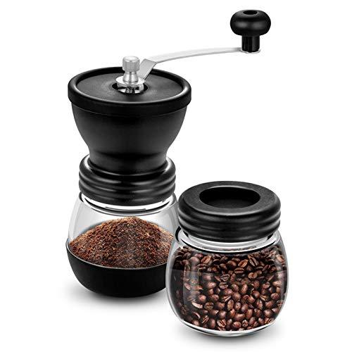 ZLASS Molinillo de café, Molinillo Manual del Frijol de café, Molinillo de cónicos de cerámica con 2 Botellas de Vidrio y Ajuste Ajustable, Adecuado para el Espresso de la Familia o Camping