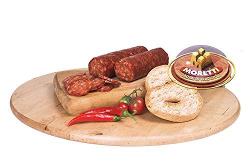 Moretti®   Salsiccia Per Pizza   Confezione Doppia Sottovuoto 750g/800g   Salume Tipico Calabrese Di Puro Suino   Con Peperoncino Calabro Biologico   No OGM   In Regalo Tagliere In Legno (Piccante)