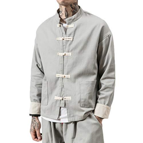 JKGHK Abbigliamento per Arti Marziali Uomo Manica Lunga Vestito di Linguetta di Stile Cinese Coat Cotone Lino Kung Fu Giacche,Grigio,XXL