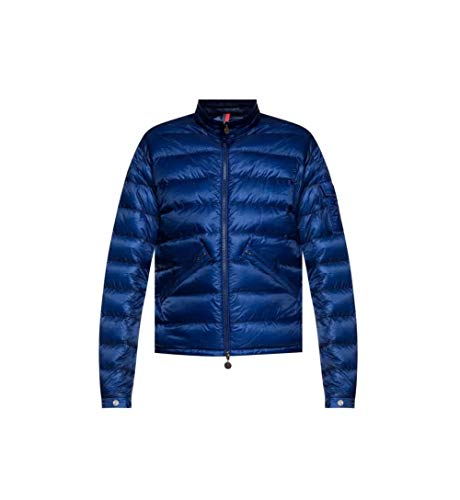 Moncler Men's Quilted Jacket in Blue, Brand Size 4