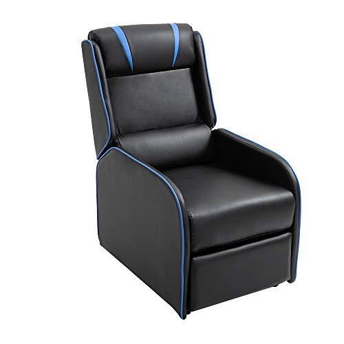 Mingone Relaxsessel mit Liegefunktion Fernsehsessel Sessel Liegefunktion Fernseh-TV-Sessel Kinosessel Lesesessel (Schwarz Blau, 89,5 x 55 x 100 cm)